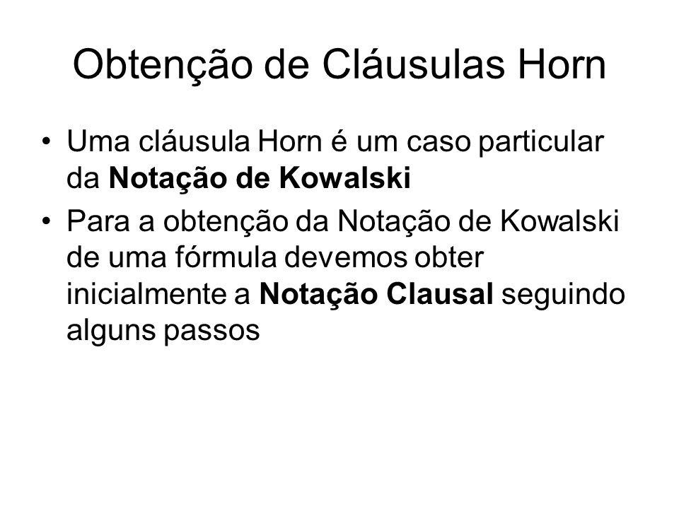 Obtenção de Cláusulas Horn Uma cláusula Horn é um caso particular da Notação de Kowalski Para a obtenção da Notação de Kowalski de uma fórmula devemos