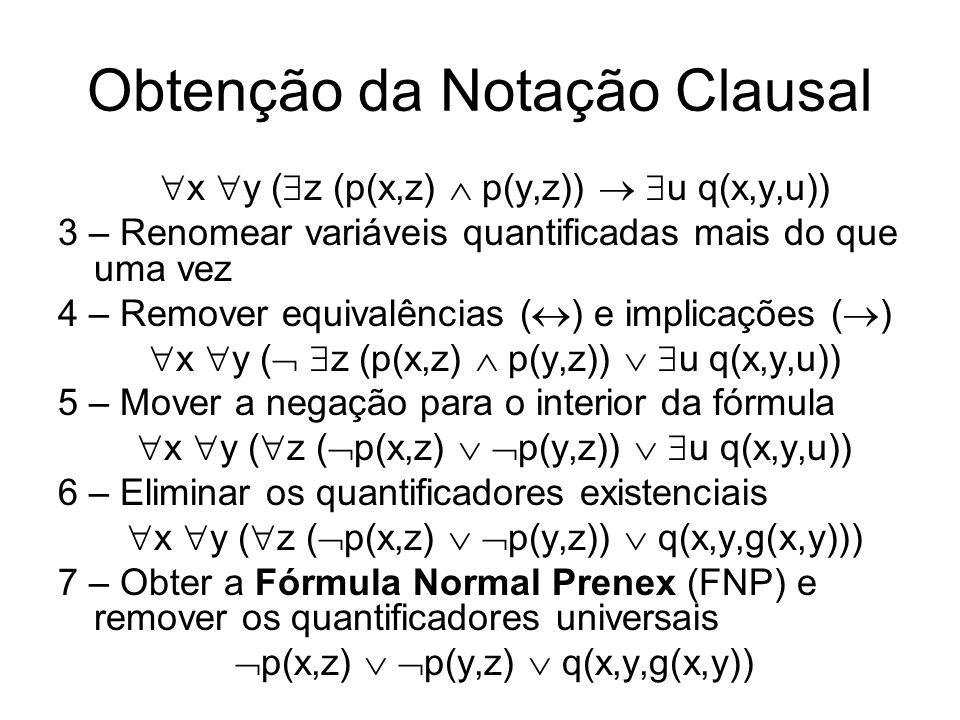 Obtenção da Notação Clausal x y ( z (p(x,z) p(y,z)) u q(x,y,u)) 3 – Renomear variáveis quantificadas mais do que uma vez 4 – Remover equivalências ( )