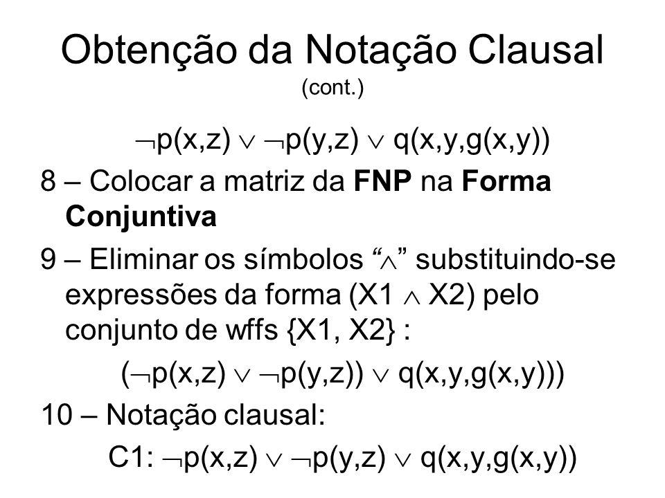 Obtenção da Notação Clausal (cont.) p(x,z) p(y,z) q(x,y,g(x,y)) 8 – Colocar a matriz da FNP na Forma Conjuntiva 9 – Eliminar os símbolos substituindo-