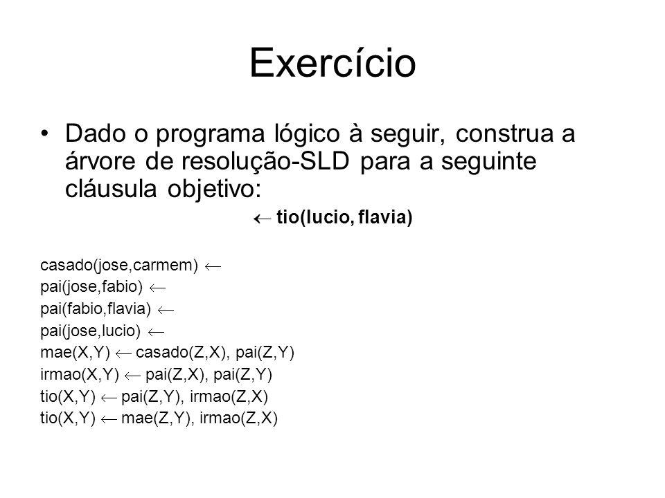 Exercício Dado o programa lógico à seguir, construa a árvore de resolução-SLD para a seguinte cláusula objetivo: tio(lucio, flavia) casado(jose,carmem