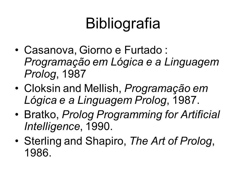 Bibliografia Casanova, Giorno e Furtado : Programação em Lógica e a Linguagem Prolog, 1987 Cloksin and Mellish, Programação em Lógica e a Linguagem Pr