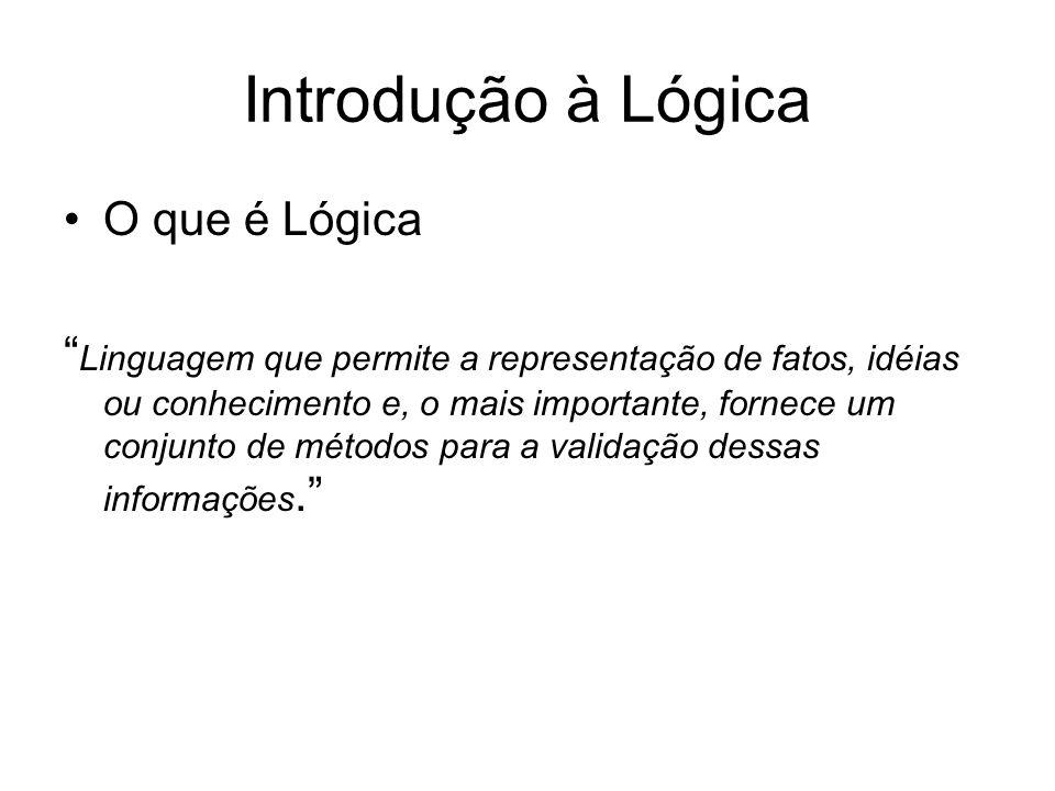 Introdução à Lógica O que é Lógica Linguagem que permite a representação de fatos, idéias ou conhecimento e, o mais importante, fornece um conjunto de