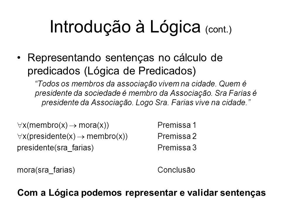 Introdução à Lógica (cont.) Representando sentenças no cálculo de predicados (Lógica de Predicados) Todos os membros da associação vivem na cidade. Qu