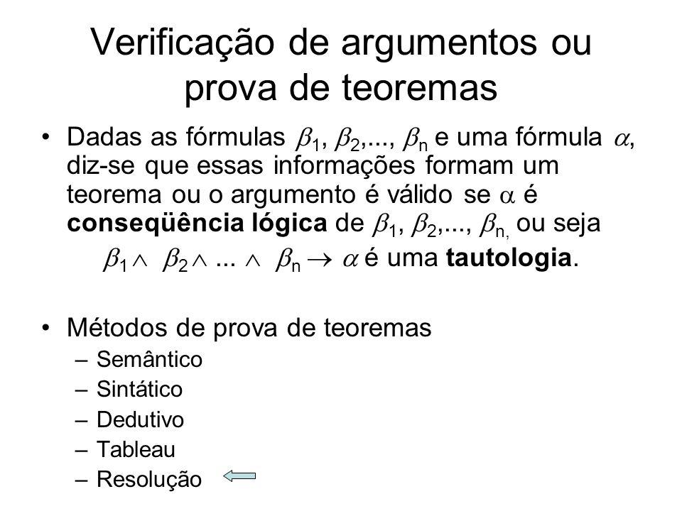Verificação de argumentos ou prova de teoremas Dadas as fórmulas 1, 2,..., n e uma fórmula, diz-se que essas informações formam um teorema ou o argume