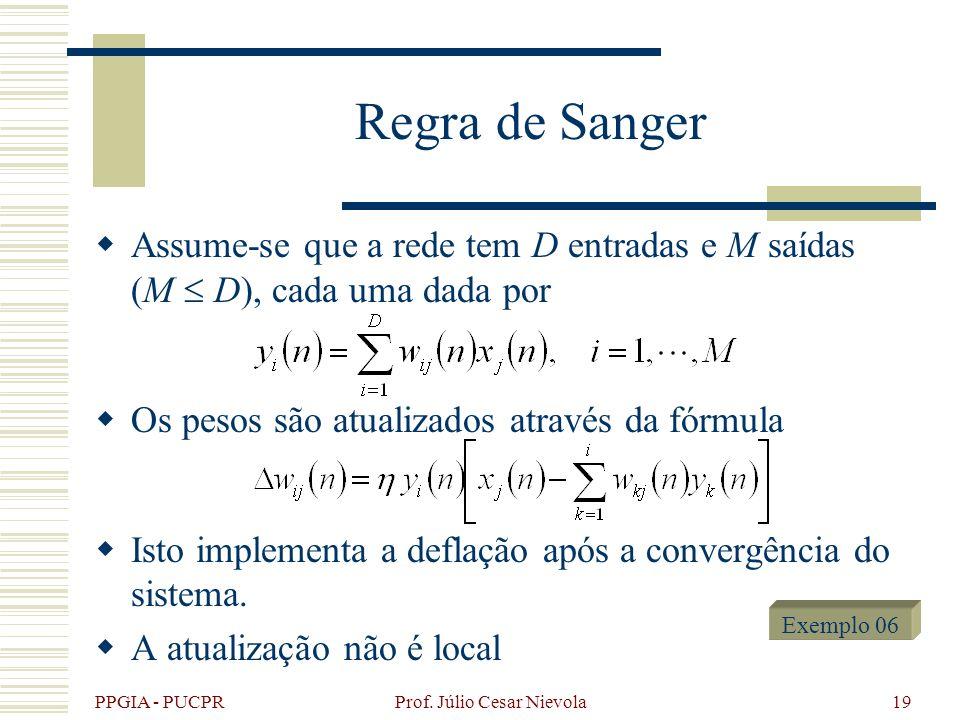 PPGIA - PUCPR Prof. Júlio Cesar Nievola19 Regra de Sanger Assume-se que a rede tem D entradas e M saídas (M D), cada uma dada por Os pesos são atualiz