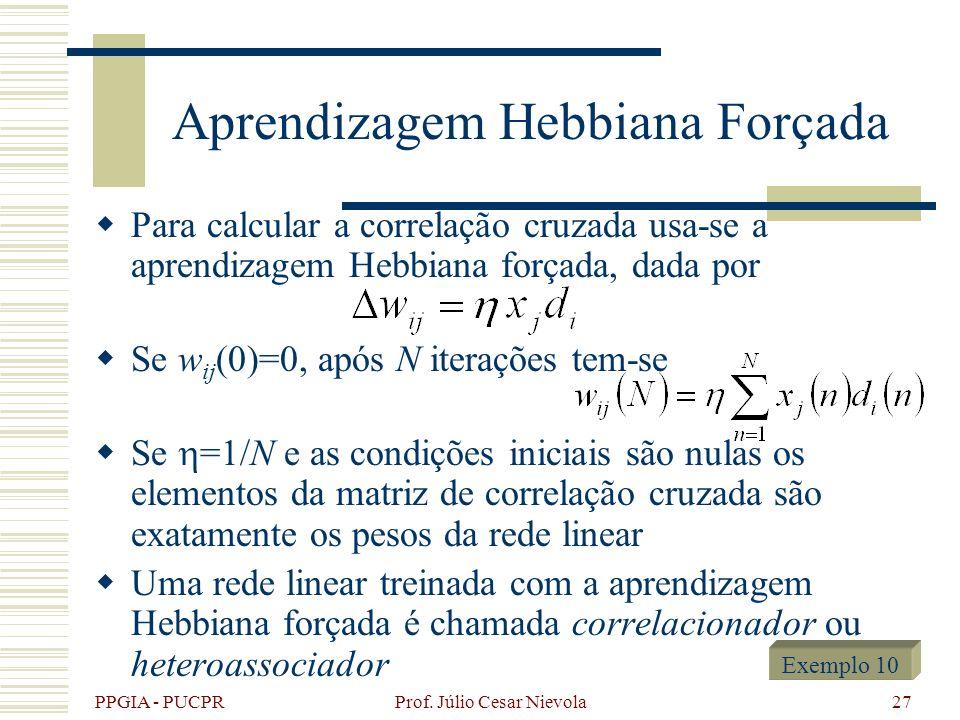 PPGIA - PUCPR Prof. Júlio Cesar Nievola27 Aprendizagem Hebbiana Forçada Para calcular a correlação cruzada usa-se a aprendizagem Hebbiana forçada, dad