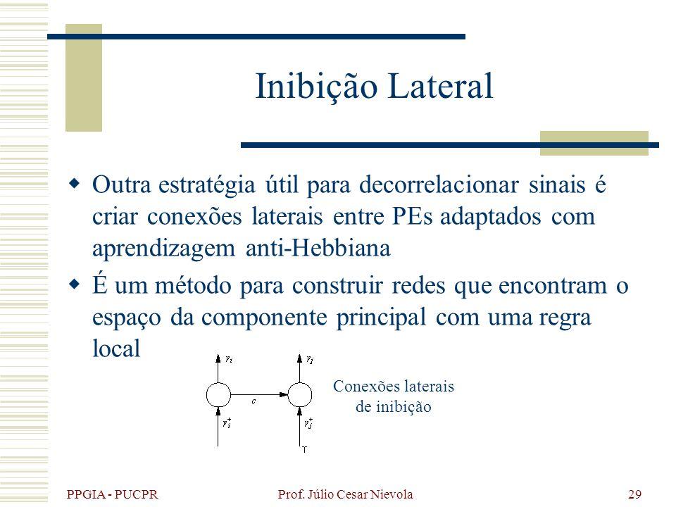PPGIA - PUCPR Prof. Júlio Cesar Nievola29 Inibição Lateral Outra estratégia útil para decorrelacionar sinais é criar conexões laterais entre PEs adapt