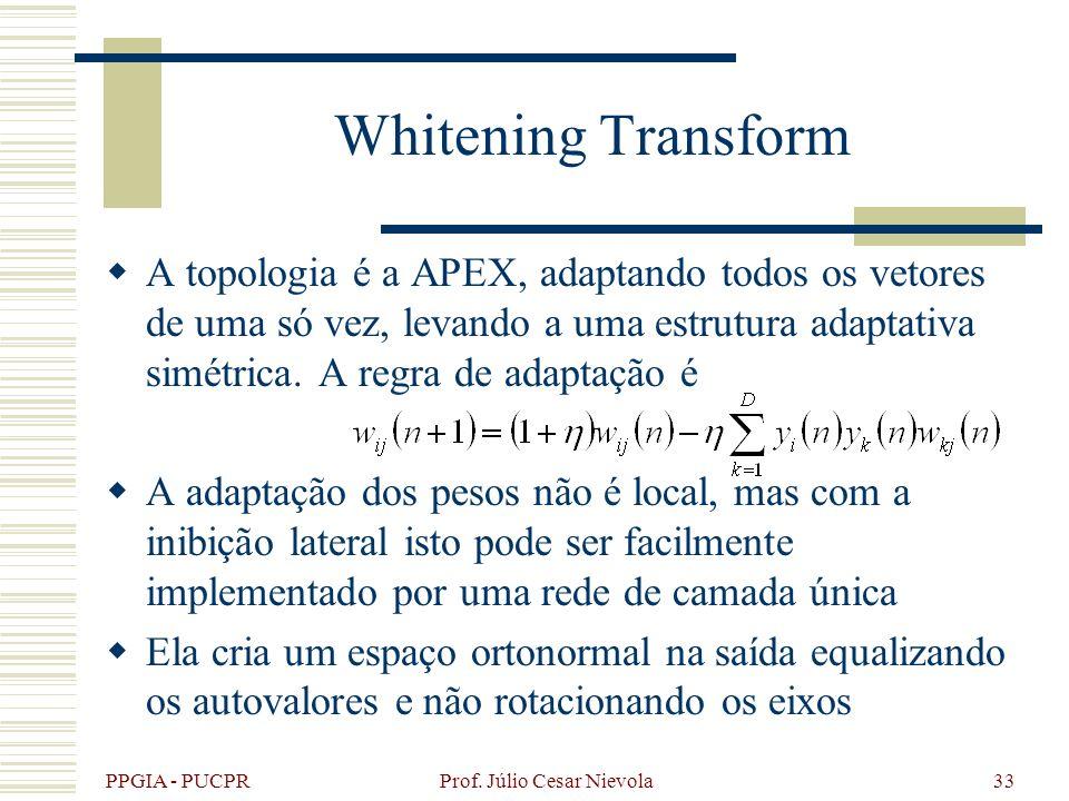 PPGIA - PUCPR Prof. Júlio Cesar Nievola33 Whitening Transform A topologia é a APEX, adaptando todos os vetores de uma só vez, levando a uma estrutura