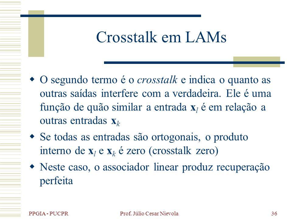 PPGIA - PUCPR Prof. Júlio Cesar Nievola36 Crosstalk em LAMs O segundo termo é o crosstalk e indica o quanto as outras saídas interfere com a verdadeir