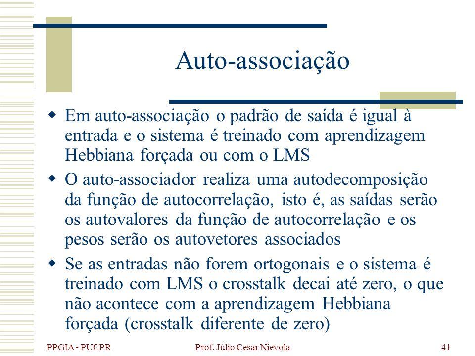 PPGIA - PUCPR Prof. Júlio Cesar Nievola41 Auto-associação Em auto-associação o padrão de saída é igual à entrada e o sistema é treinado com aprendizag