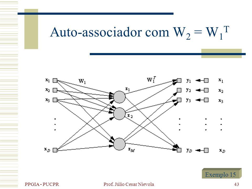 PPGIA - PUCPR Prof. Júlio Cesar Nievola43 Auto-associador com W 2 = W 1 T Exemplo 15