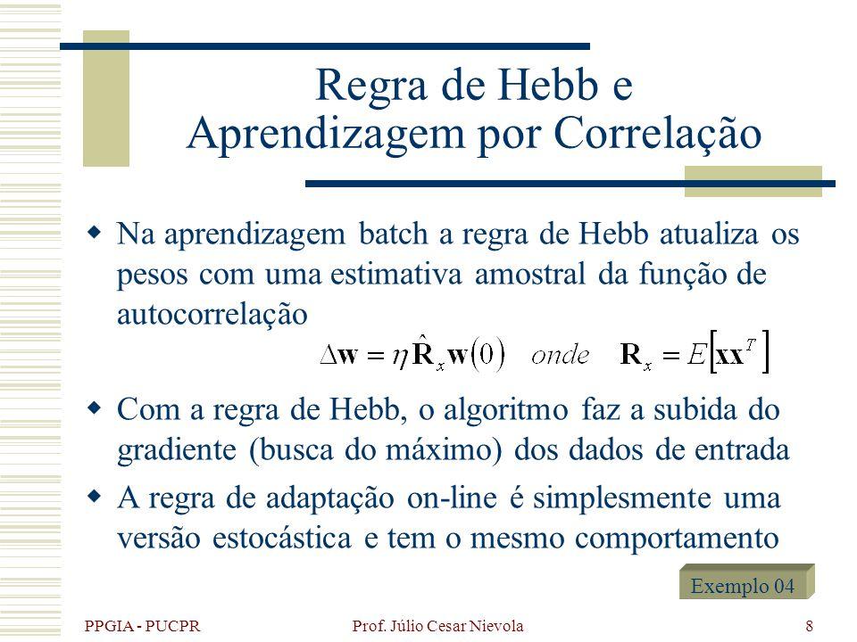 PPGIA - PUCPR Prof. Júlio Cesar Nievola8 Regra de Hebb e Aprendizagem por Correlação Na aprendizagem batch a regra de Hebb atualiza os pesos com uma e