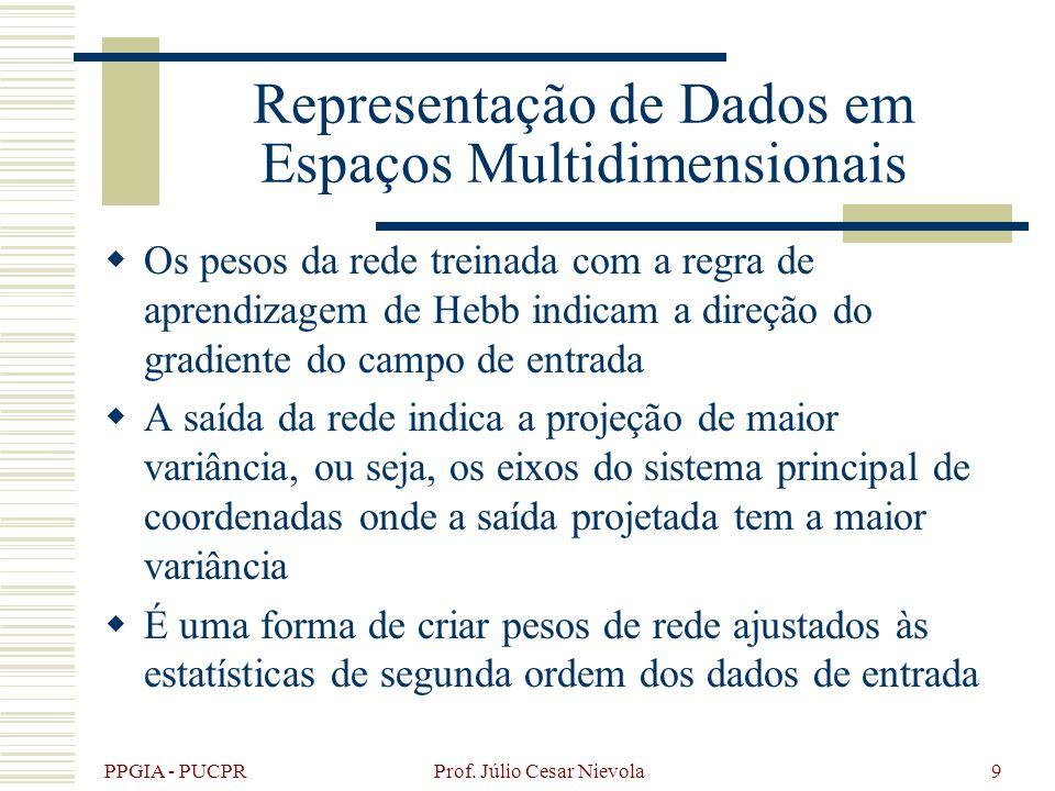 PPGIA - PUCPR Prof. Júlio Cesar Nievola9 Representação de Dados em Espaços Multidimensionais Os pesos da rede treinada com a regra de aprendizagem de