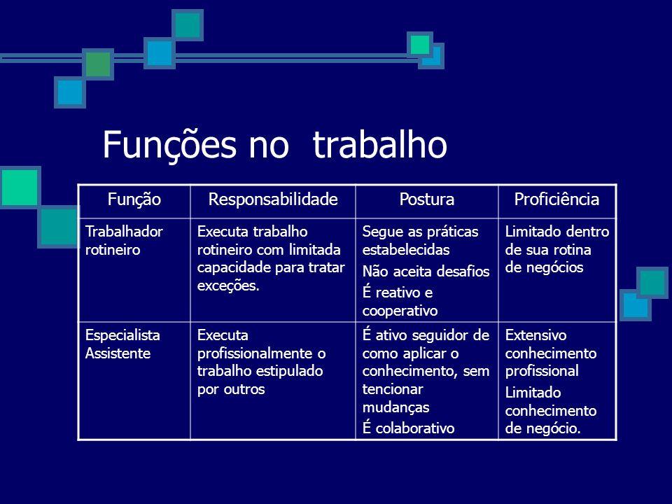 Funções no trabalho FunçãoResponsabilidadePosturaProficiência Trabalhador rotineiro Executa trabalho rotineiro com limitada capacidade para tratar exc