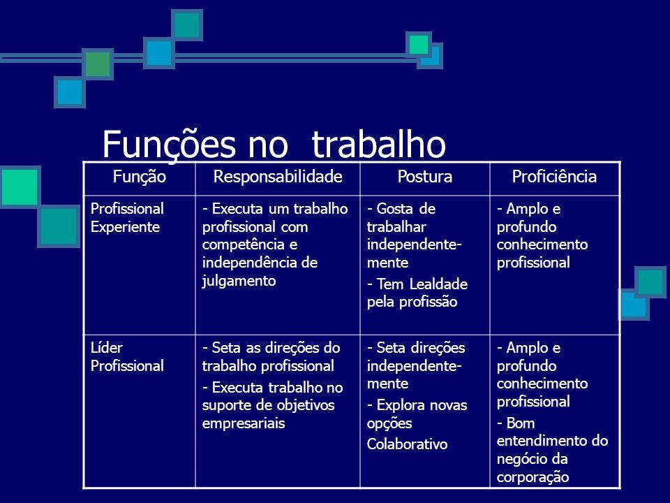 Funções no trabalho FunçãoResponsabilidadePosturaProficiência Profissional Experiente - Executa um trabalho profissional com competência e independênc