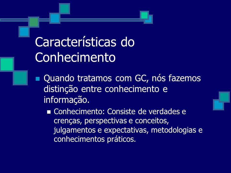 Características do Conhecimento Quando tratamos com GC, nós fazemos distinção entre conhecimento e informação. Conhecimento: Consiste de verdades e cr