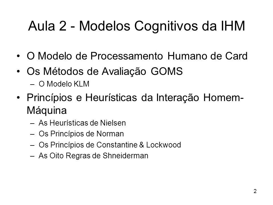 2 Aula 2 - Modelos Cognitivos da IHM O Modelo de Processamento Humano de Card Os Métodos de Avaliação GOMS –O Modelo KLM Princípios e Heurísticas da I