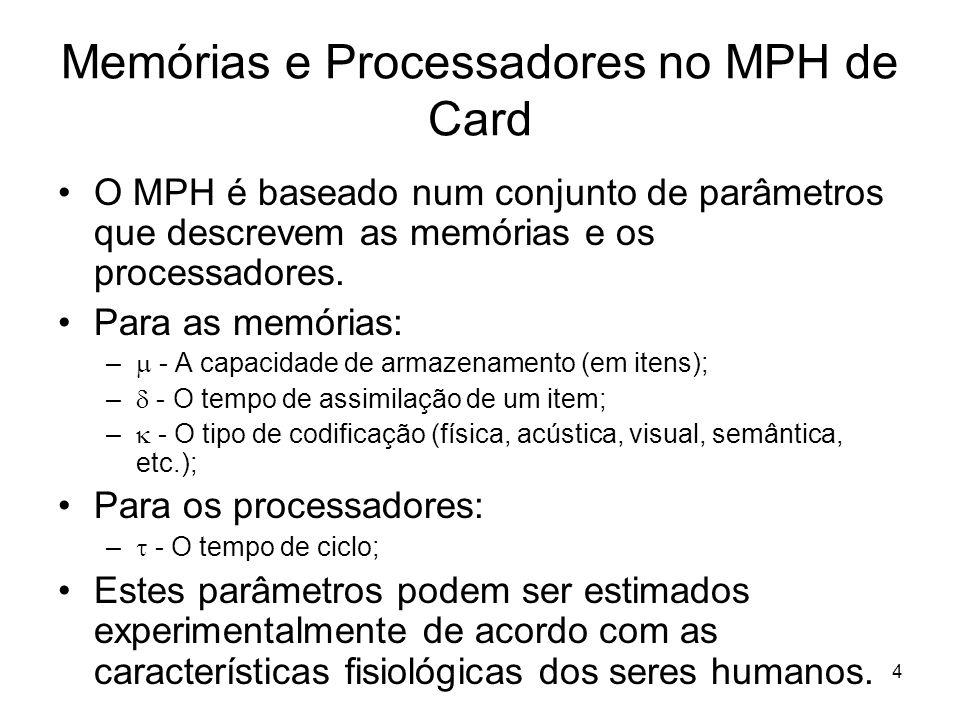 4 Memórias e Processadores no MPH de Card O MPH é baseado num conjunto de parâmetros que descrevem as memórias e os processadores. Para as memórias: –