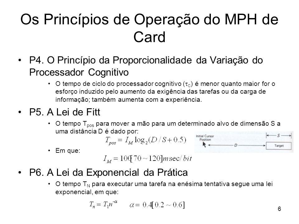 6 Os Princípios de Operação do MPH de Card P4. O Princípio da Proporcionalidade da Variação do Processador Cognitivo O tempo de ciclo do processador c