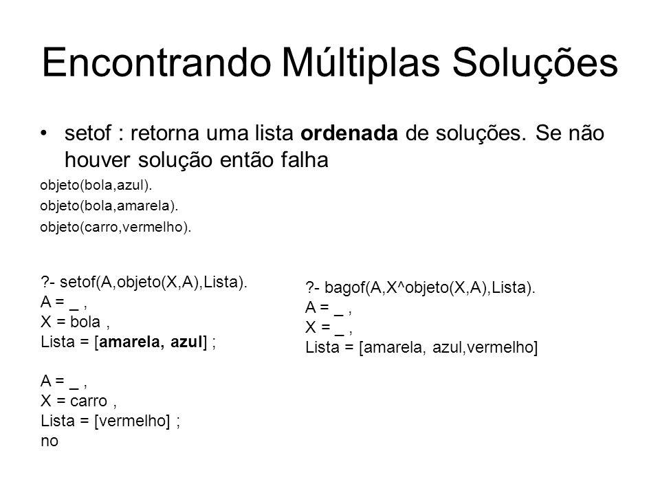 Encontrando Múltiplas Soluções setof : retorna uma lista ordenada de soluções. Se não houver solução então falha objeto(bola,azul). objeto(bola,amarel