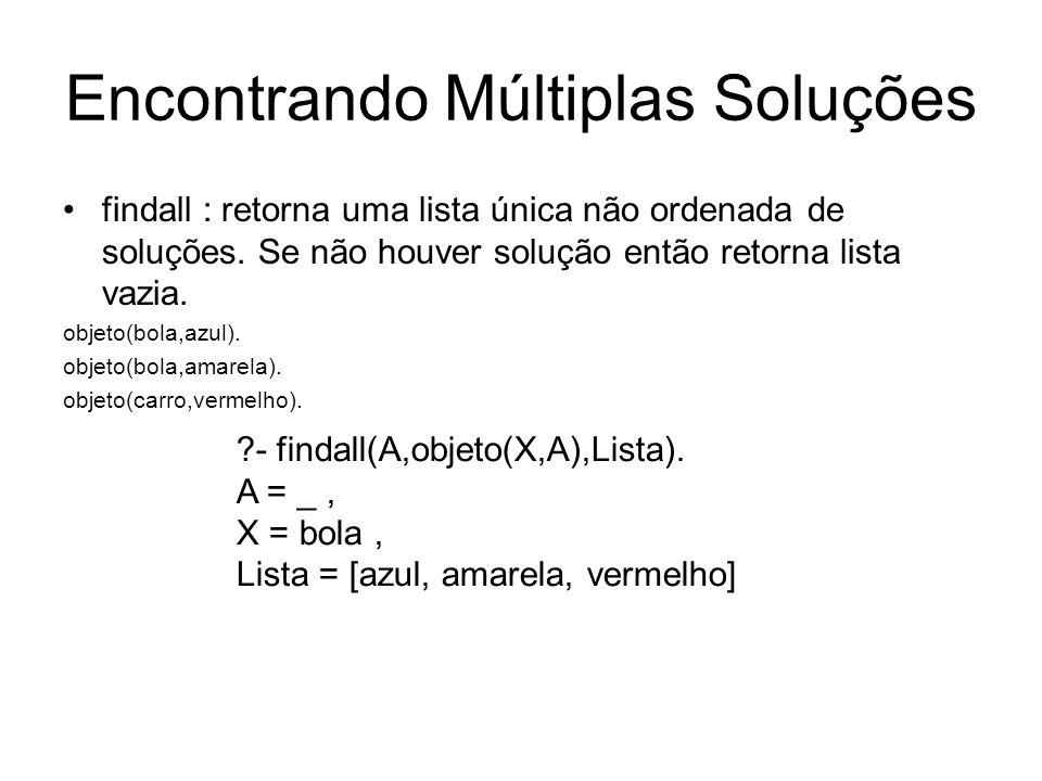 Encontrando Múltiplas Soluções findall : retorna uma lista única não ordenada de soluções. Se não houver solução então retorna lista vazia. objeto(bol
