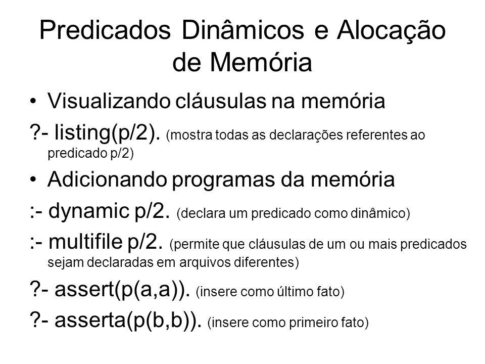 Predicados Dinâmicos e Alocação de Memória Visualizando cláusulas na memória ?- listing(p/2). (mostra todas as declarações referentes ao predicado p/2