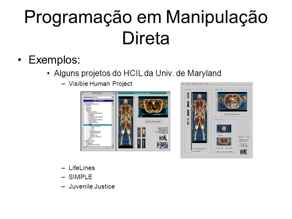 Programação em Manipulação Direta Exemplos: Alguns projetos do HCIL da Univ.