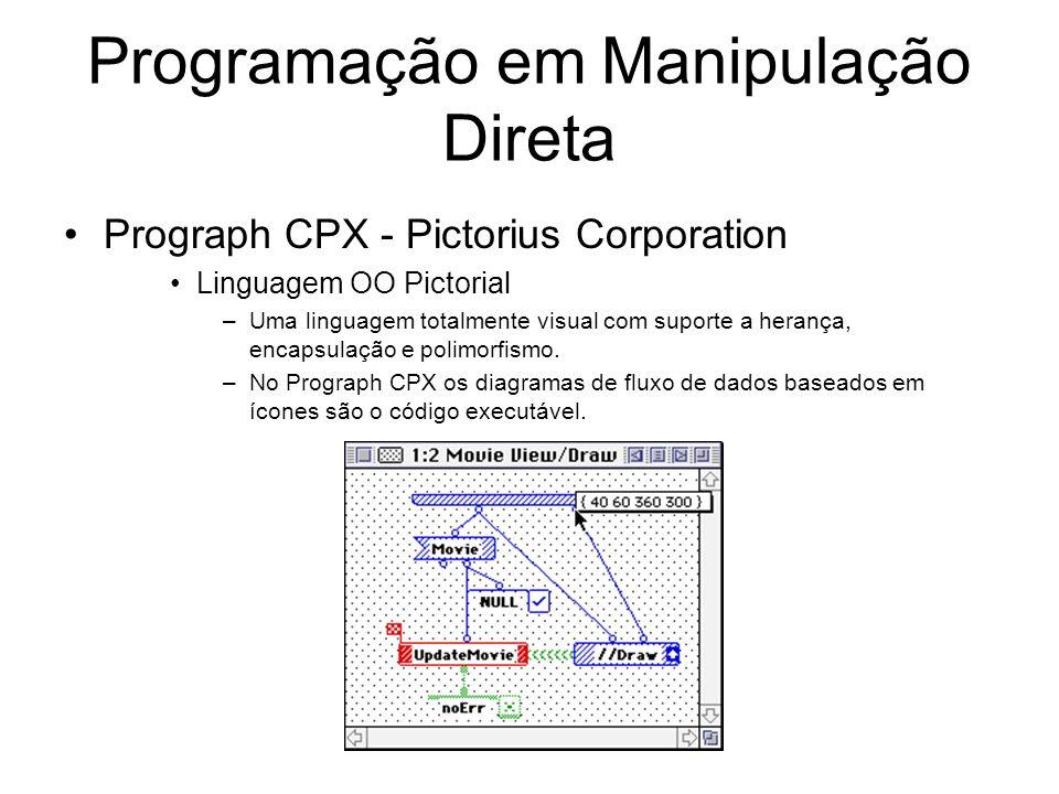 Programação em Manipulação Direta Prograph CPX - Pictorius Corporation Linguagem OO Pictorial –Uma linguagem totalmente visual com suporte a herança, encapsulação e polimorfismo.