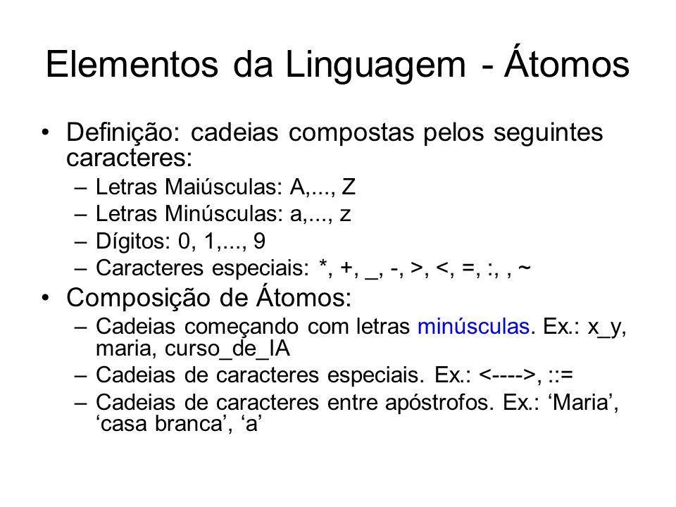 Elementos da Linguagem (cont.) Números: 1, 2.45, -20 Variáveis: são cadeias de letras, dígitos e o caractere _.