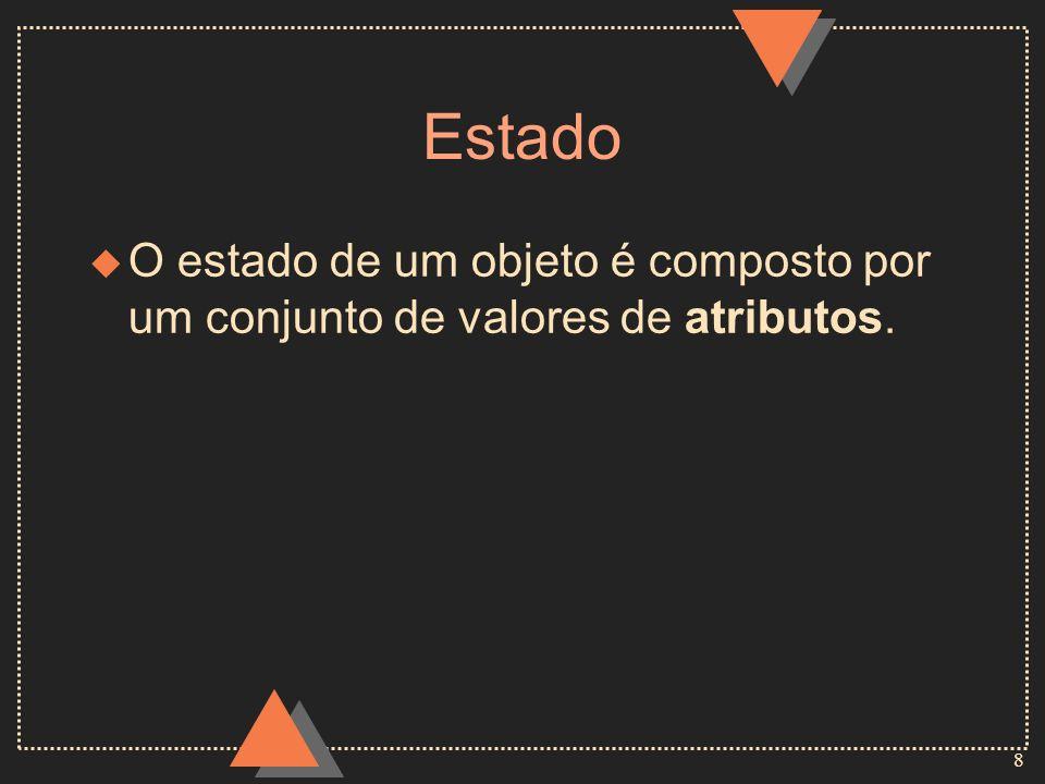 8 Estado u O estado de um objeto é composto por um conjunto de valores de atributos.