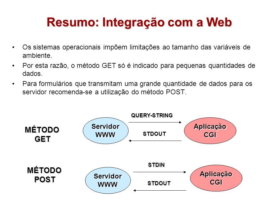 Resumo: Integração com a Web ServidorWWWAplicaçãoCGI ServidorWWW AplicaçãoCGI MÉTODOGET MÉTODOPOST QUERY-STRING STDOUT STDIN STDOUT Os sistemas operac