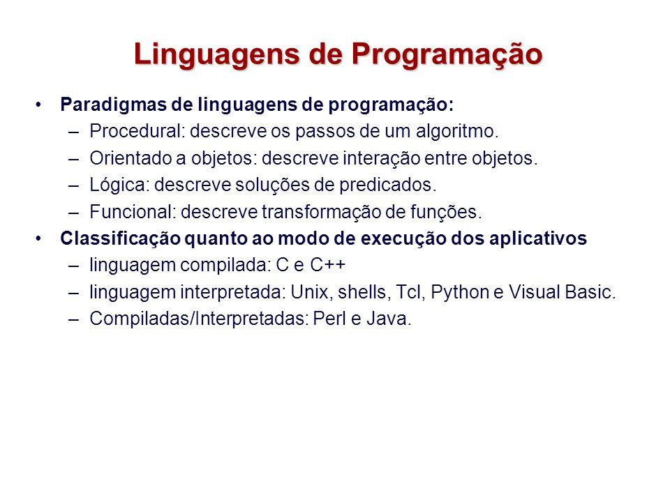 Linguagens de Programação Paradigmas de linguagens de programação: –Procedural: descreve os passos de um algoritmo. –Orientado a objetos: descreve int