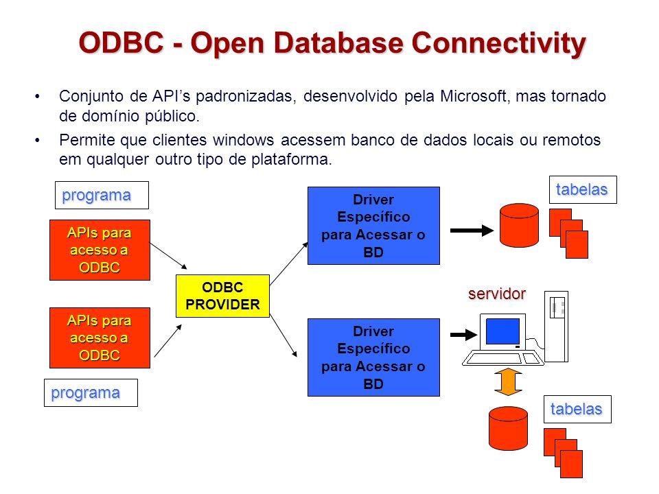 ODBC - Open Database Connectivity Conjunto de APIs padronizadas, desenvolvido pela Microsoft, mas tornado de domínio público. Permite que clientes win