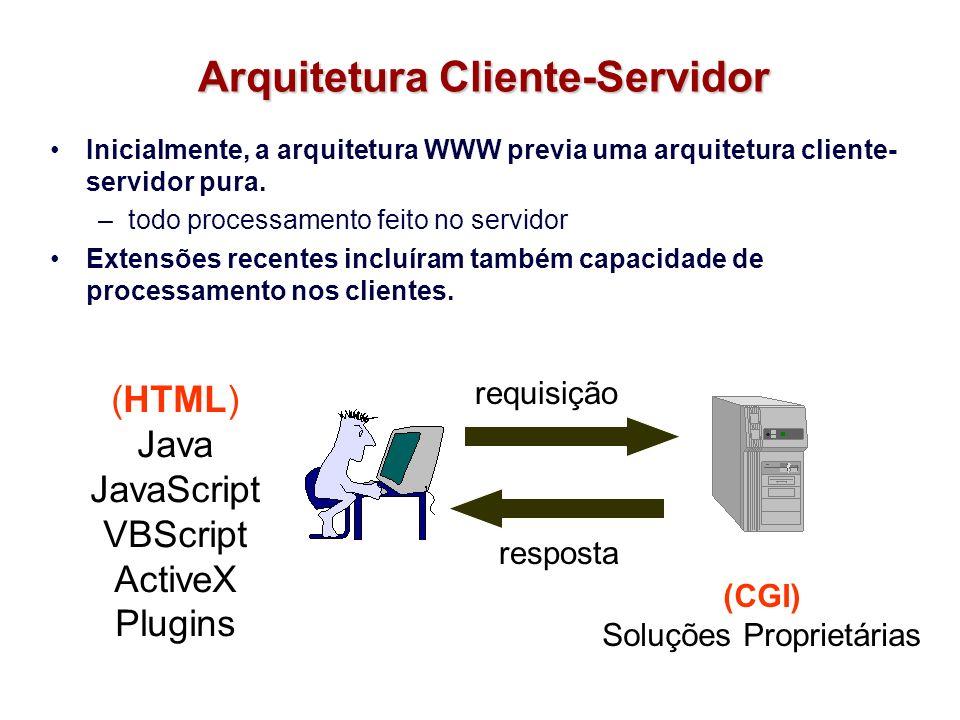 Arquitetura Cliente-Servidor Inicialmente, a arquitetura WWW previa uma arquitetura cliente- servidor pura. –todo processamento feito no servidor Exte