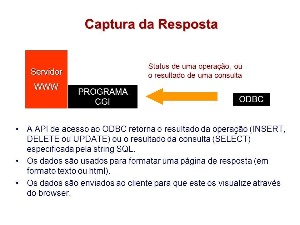 Captura da Resposta A API de acesso ao ODBC retorna o resultado da operação (INSERT, DELETE ou UPDATE) ou o resultado da consulta (SELECT) especificad