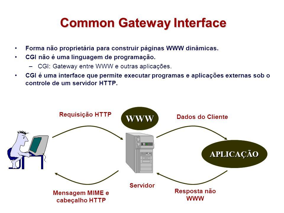 Integração com Banco de Dados Banco de dados requisição requisição Nome Rmal Edgard 1675 HTML resposta resposta Nome:Ramal: Procurar Procurar Cadastrar Cadastrar Edgard Processar ServidorWWW AplicaçãoCGI Servidor de Banco de Dados