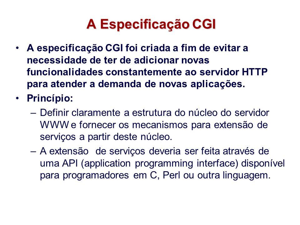 A Especificação CGI A especificação CGI foi criada a fim de evitar a necessidade de ter de adicionar novas funcionalidades constantemente ao servidor