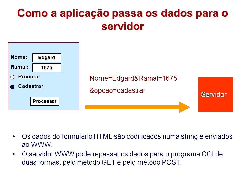 Método GET Os dados são passados pela variável de ambiente QUERY_STRING Os dados são lidos pela aplicação no servidor chamando a API que lê a variável de ambiente.