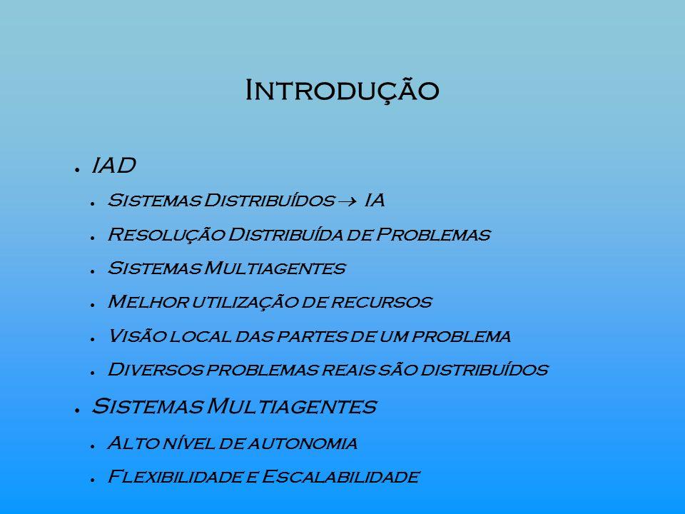Introdução IAD Sistemas Distribuídos IA Resolução Distribuída de Problemas Sistemas Multiagentes Melhor utilização de recursos Visão local das partes
