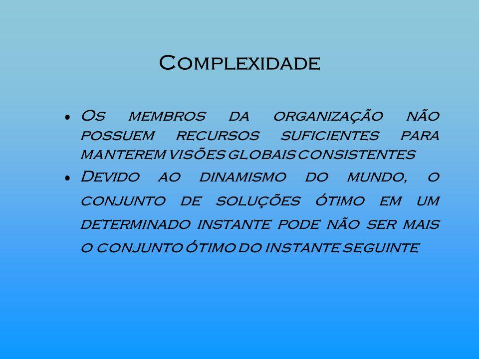 Complexidade Os membros da organização não possuem recursos suficientes para manterem visões globais consistentes Devido ao dinamismo do mundo, o conj