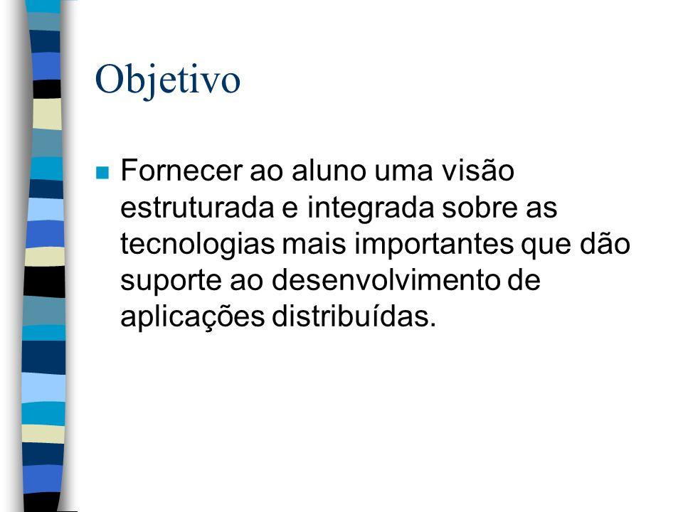 Objetivo n Fornecer ao aluno uma visão estruturada e integrada sobre as tecnologias mais importantes que dão suporte ao desenvolvimento de aplicações distribuídas.