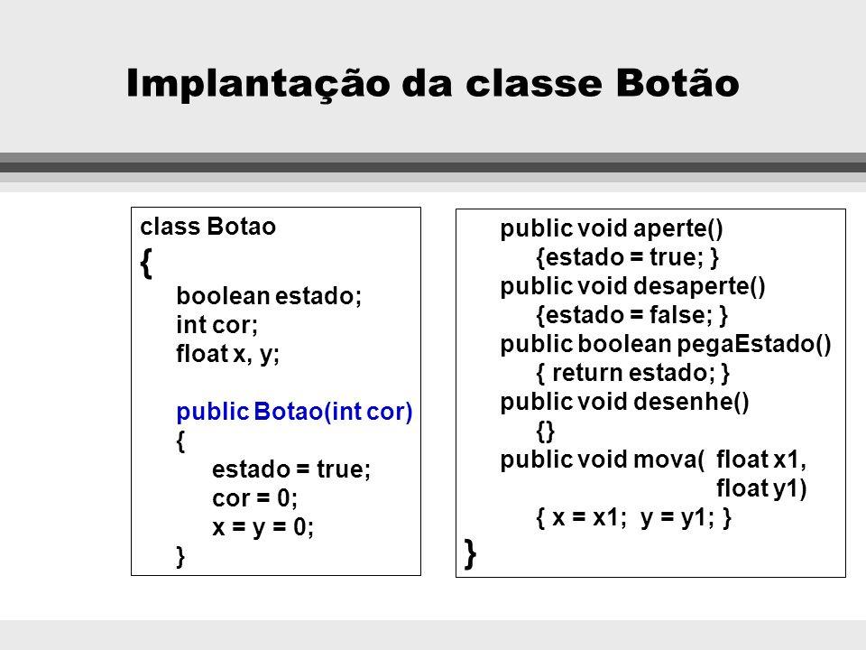 Exemplo de herança e polimorfismo BOTÃO Estado: boolean cor:Cores x:int y:int desenhe(), aperte(), desaperte(), pegaEstado(), mova(float x1, float x2)
