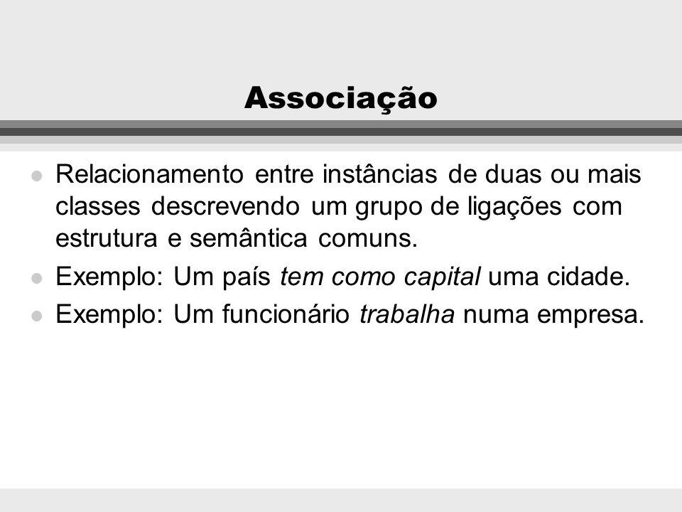 Ligação l Uma conexão física ou conceitual entre objetos l Exemplo: O país Brasil tem como capital a cidade de Brasília. l Exemplo: O funcionário João