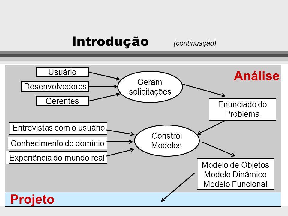 Introdução (continuação) Modelagem orientada a objetos l Permite representar diretamente as entidades do mundo real em ambientes informatizados, sem a