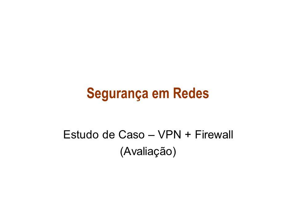Segurança em Redes Estudo de Caso – VPN + Firewall (Avaliação)