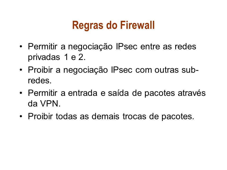 Regras do Firewall Permitir a negociação IPsec entre as redes privadas 1 e 2. Proibir a negociação IPsec com outras sub- redes. Permitir a entrada e s