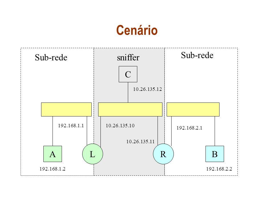 Cenário A C B Sub-rede LR sniffer 10.26.135.10 10.26.135.11 10.26.135.12 192.168.1.1 192.168.1.2 192.168.2.1 192.168.2.2