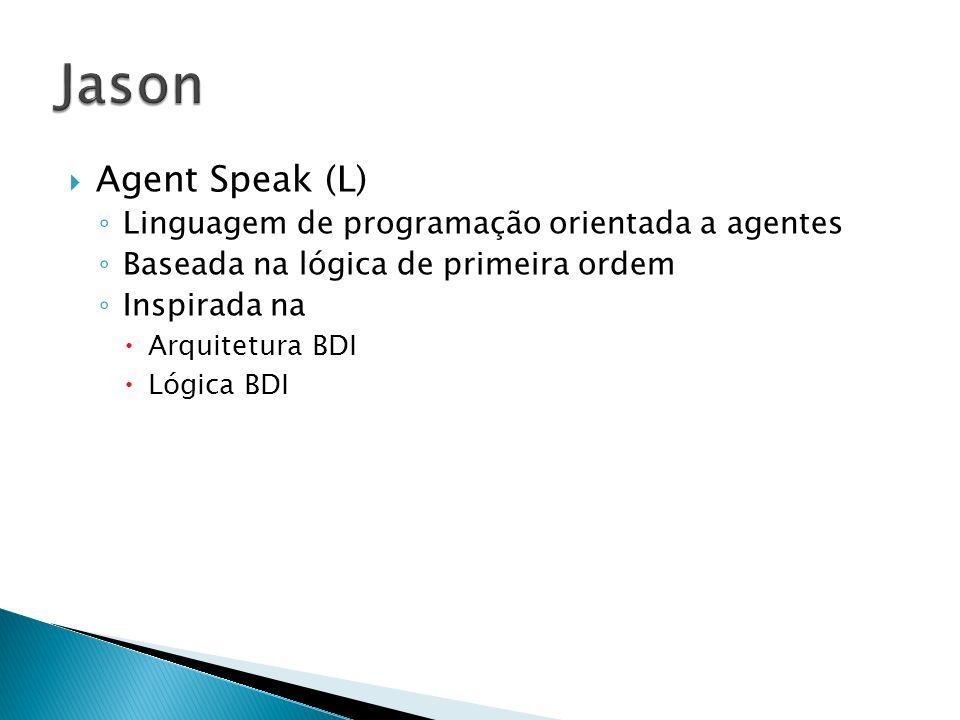 Agent Speak (L) Linguagem de programação orientada a agentes Baseada na lógica de primeira ordem Inspirada na Arquitetura BDI Lógica BDI