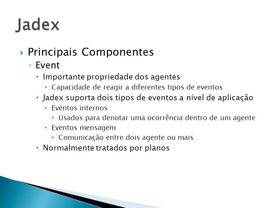 Principais Componentes Event Importante propriedade dos agentes Capacidade de reagir a diferentes tipos de eventos Jadex suporta dois tipos de eventos