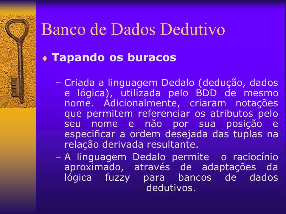 Banco de Dados Dedutivo Tapando os buracos –Criada a linguagem Dedalo (dedução, dados e lógica), utilizada pelo BDD de mesmo nome. Adicionalmente, cri